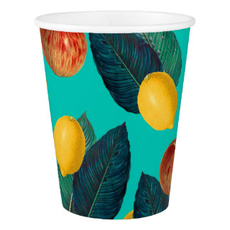 apples and lemons teal paper cup
