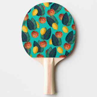 apples and lemons teal ping pong paddle