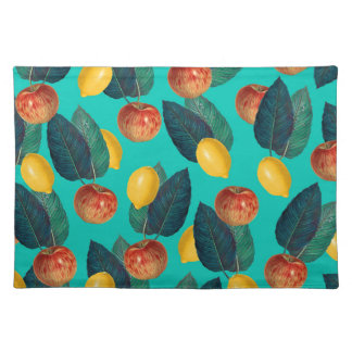 apples and lemons teal placemat
