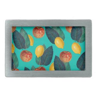 apples and lemons teal rectangular belt buckle