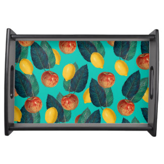 apples and lemons teal serving tray