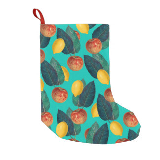 apples and lemons teal small christmas stocking