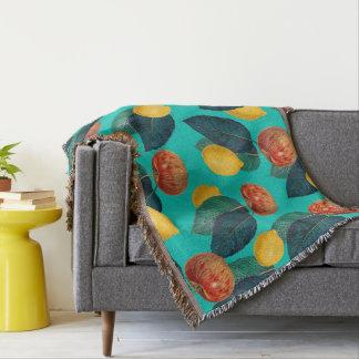 apples and lemons teal throw blanket