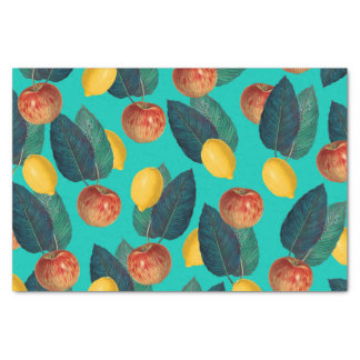 apples and lemons teal tissue paper