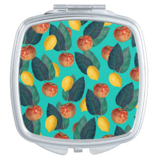 apples and lemons teal travel mirror