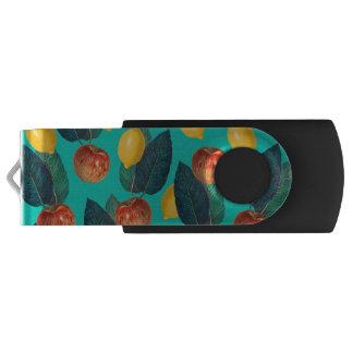 apples and lemons teal USB flash drive
