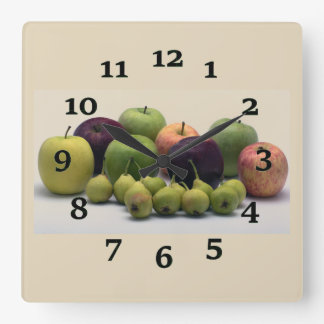 Apples And Pears Square Wall Clock