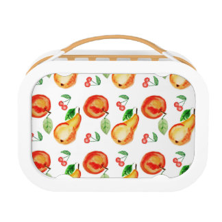 Apples, cherries and pears watercolor design lunchbox
