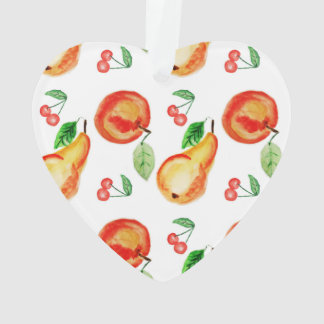 Apples, cherries and pears watercolor design ornament