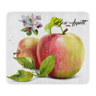 Apples, flowers and splashes cutting board
