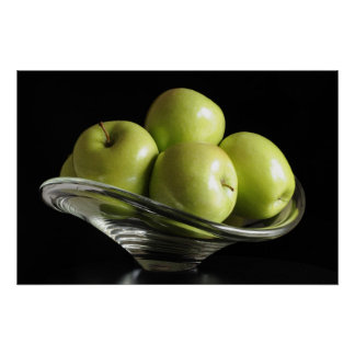 Apples in a glass bowl poster
