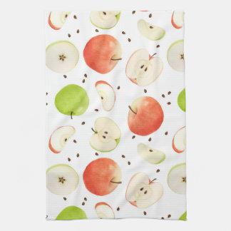Apples in watercolor dish towels