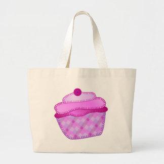 Applique Cupcake Tote Bag - Mauve and Pink