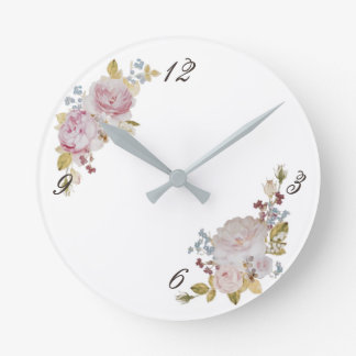 Applying clock of faint rose and forget-me-not