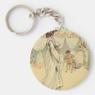 Appointment at the cafe de Tuileries 1898 Basic Round Button Keychain