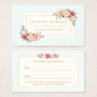 Appointment Card Elegant Pastel Watercolor Floral