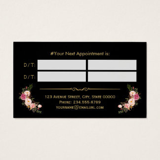 Appointment Card Vintage Beauty Salon Gold Floral Business Card