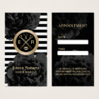 Appointment | Modern Stripes Black Floral Salon Business Card