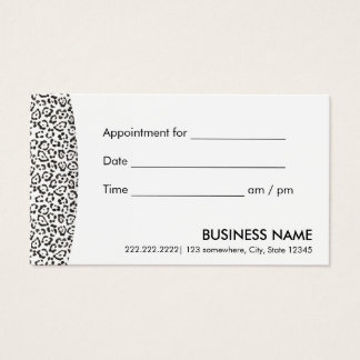 Appointment Reminder Modern Snow Leopard Print Business Card