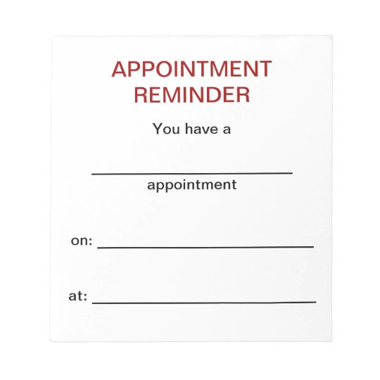 Appointment Reminder Notepad