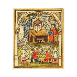 Apprentices in a Medieval Laboratory Canvas Print