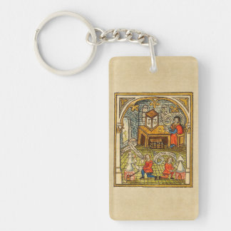 Apprentices in a Medieval Laboratory Keychain