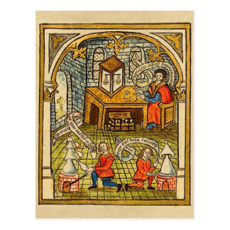Apprentices in a Medieval Laboratory Postcard