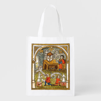 Apprentices in a Medieval Laboratory Reusable Grocery Bag