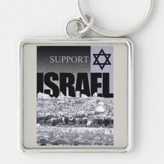 Appui Israël Porte-clé Carré Argenté