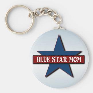 Appui militaire de famille de maman d'étoile bleue porte-clé rond