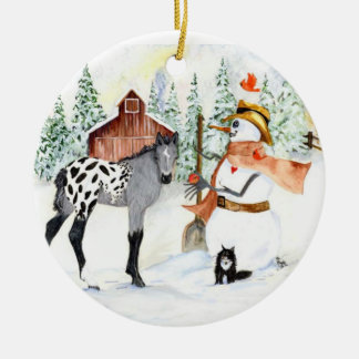 Appy colt and Snowman Round Ceramic Ornament