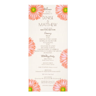 Apricot 70's Gerbera Wedding Program