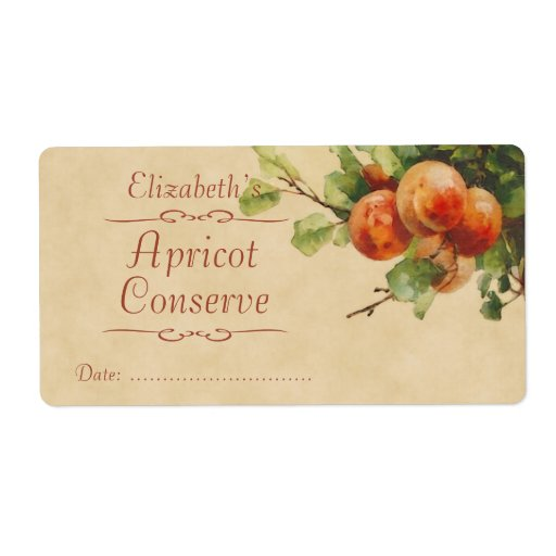 Apricot Canning label