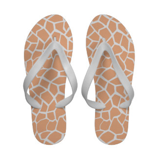 Apricot Color Giraffe Animal Print Flip Flops