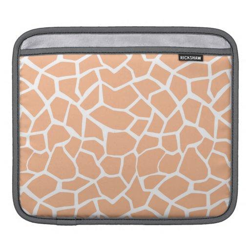 Apricot Color Giraffe Animal Print Sleeves For iPads