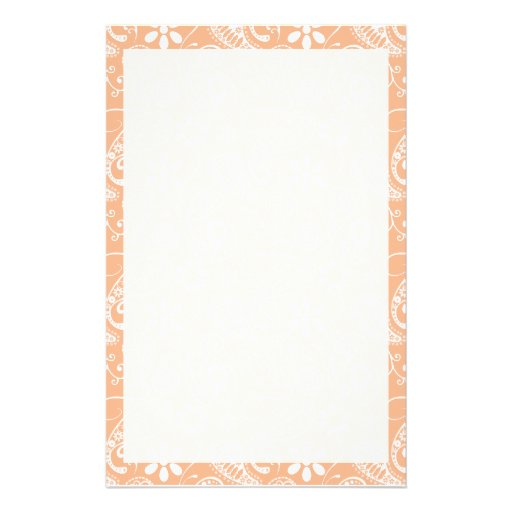 Apricot Color Paisley; Floral Customized Stationery
