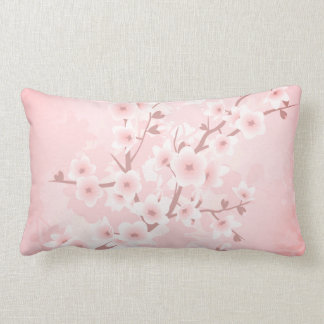 Apricot Coral Cherry Blossoms Lumbar Pillow