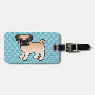 Apricot Fawn Pug With Morrison Mask Cartoon Dog Luggage Tag