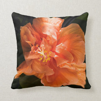 Apricot Hibiscus Square Throw Pillow