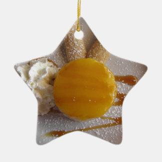 Apricot jam covered ice cream cake ceramic ornament