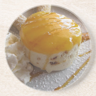 Apricot jam covered ice cream cake coaster