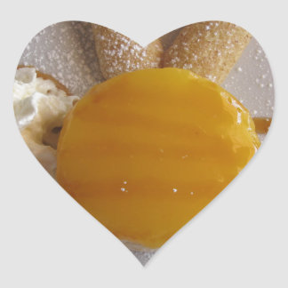 Apricot jam covered ice cream cake heart sticker