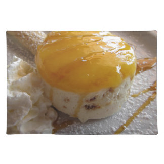 Apricot jam covered ice cream cake placemat
