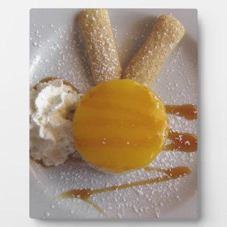 Apricot jam covered ice cream cake plaque
