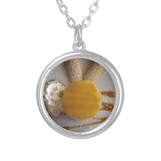 Apricot jam covered ice cream cake silver plated necklace