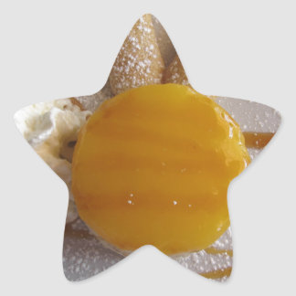 Apricot jam covered ice cream cake star sticker
