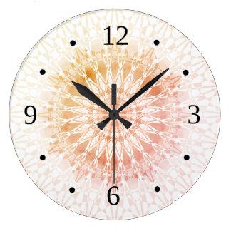 Apricot  Mandala Geometric Large Clock