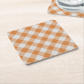 Apricot Orange Country Cottage Gingham Stripes Square Paper Coaster
