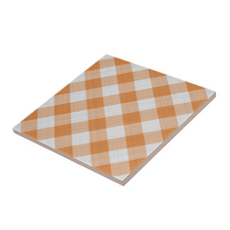 Apricot Orange Country Cottage Gingham Stripes Tile