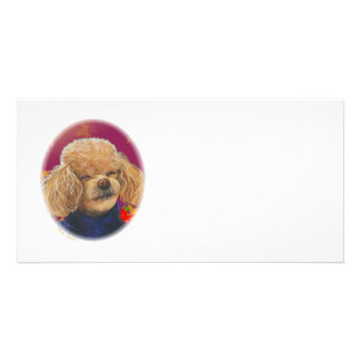 Apricot Poodle Fall Leaves Art Print Personalized Photo Card